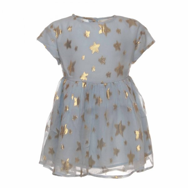 Simple Kids - Abito Deer celeste in seta con stelle lurex