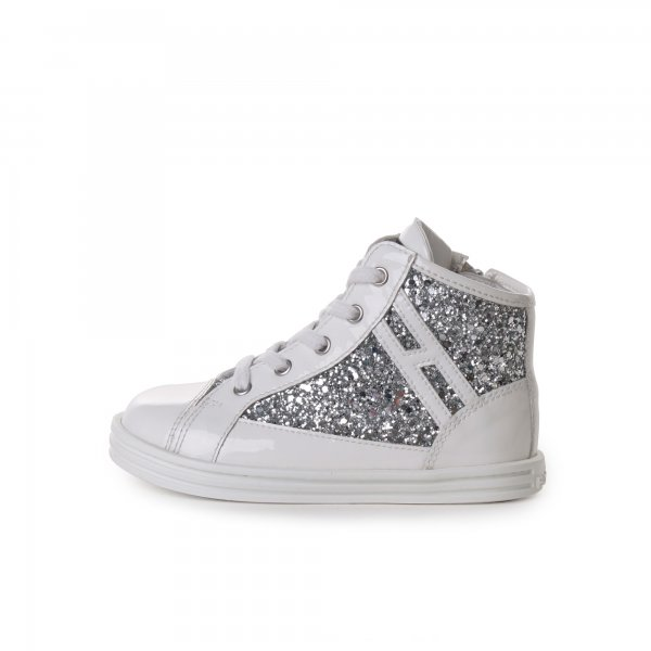 Hogan Rebel - High Top Sneakers vernice e glitter argento baby