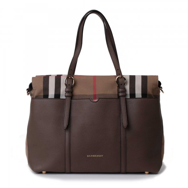 Burberry - Borsa Nascita in pelle con dettagli canvas check