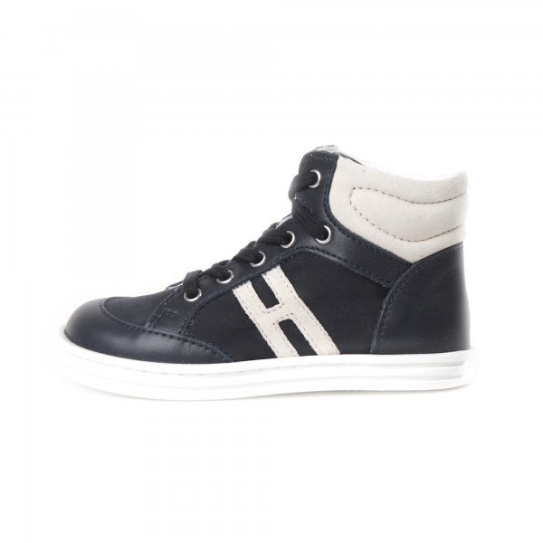 Hogan Rebel - Sneakers bebè R141 High Top nera pelle e nylon