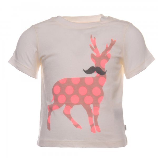 Stella Mccartney - T-SHIRT BIMBA BIANCO CREMA CON STAMPA COLORATA