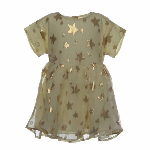 Simple Kids - Abito Deer giallo in seta con sette lurex