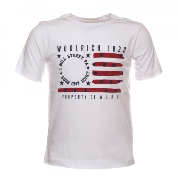 Woolrich - T shirt bambino bianca con stampa stelle e strisce