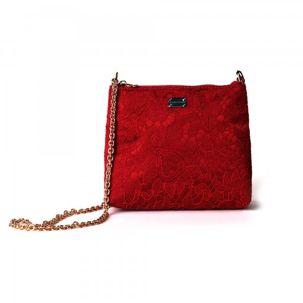 Dolce & Gabbana - Borsa tracolla teenager rossa in pizzo
