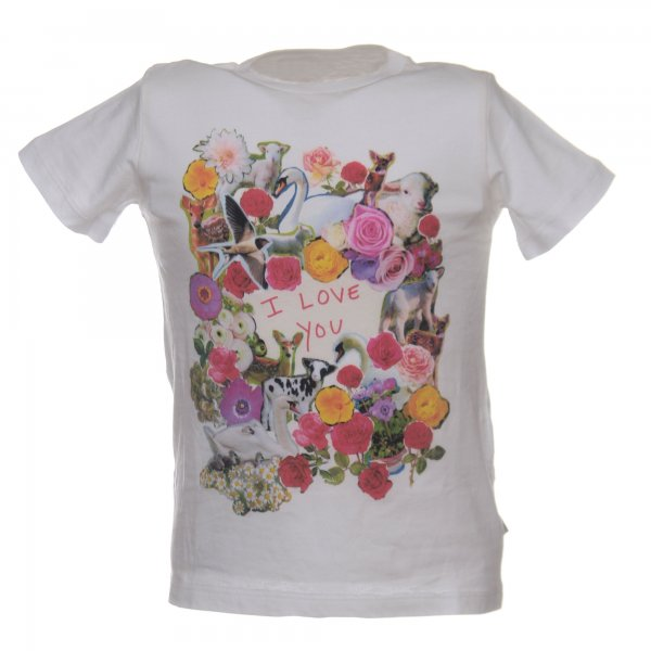 White t-shirt with multicolor print for Girl by Stella McCartney Girl - annameglio.com shop online