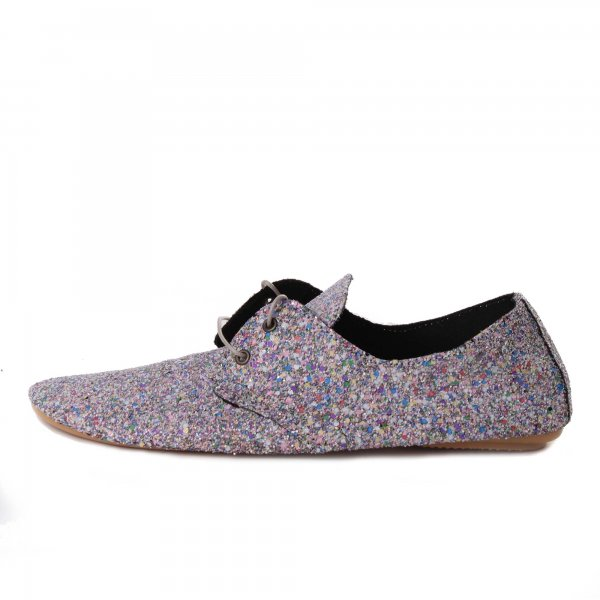 Very soft lace up glamor shoe in multicolor glitter by Anniel Girl - annameglio.com shop online
