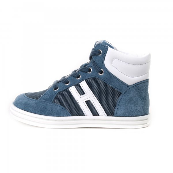 Hogan Rebel - Sneakers bebè R141 High Top blu camoscio e nylon