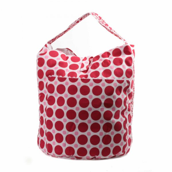Little Bear - BORSA HOBO GIRL IN TELA BIANCA E ROSSA A POIS