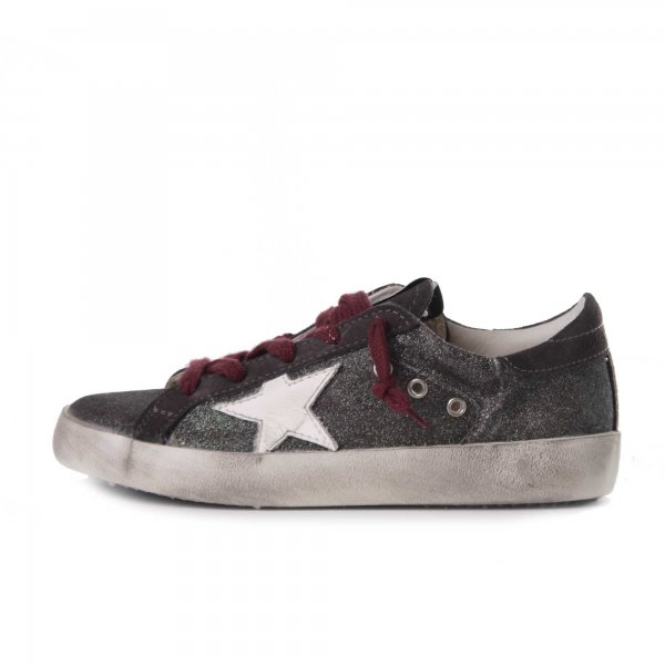 Golden Goose - Super Star Glitter Tortora Junior