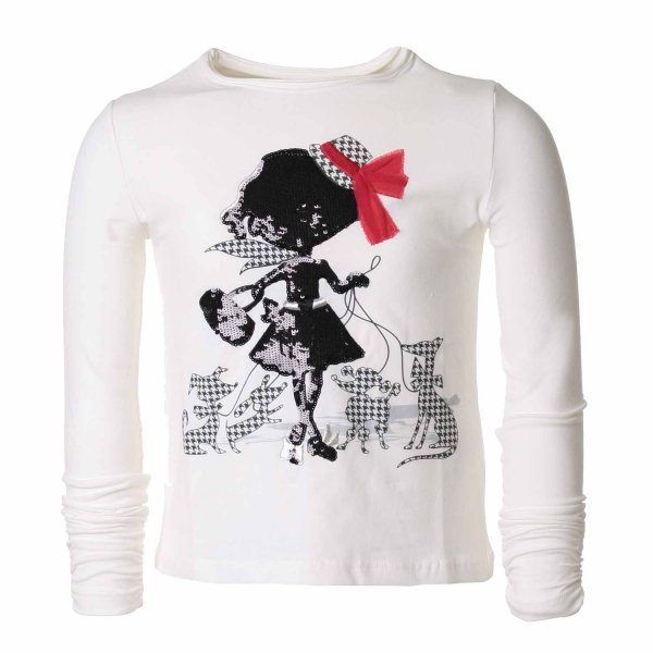 Elsy - T-SHIRT BAMBINA BIANCA PAILLETTES