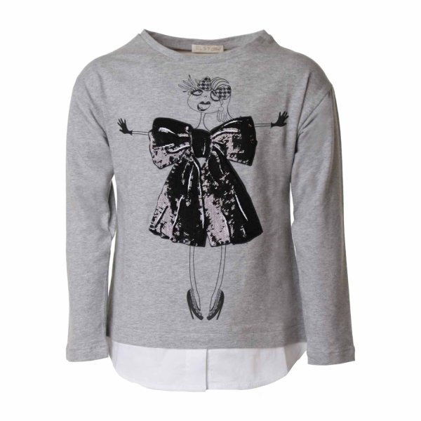 Elsy - T-SHIRT GIRL GRIGIA PAILLETTES