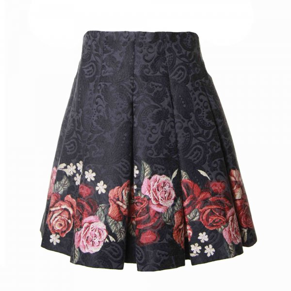 Monnalisa - GONNA BROCCATA BAMBINA BLU SCURO CON ROSE