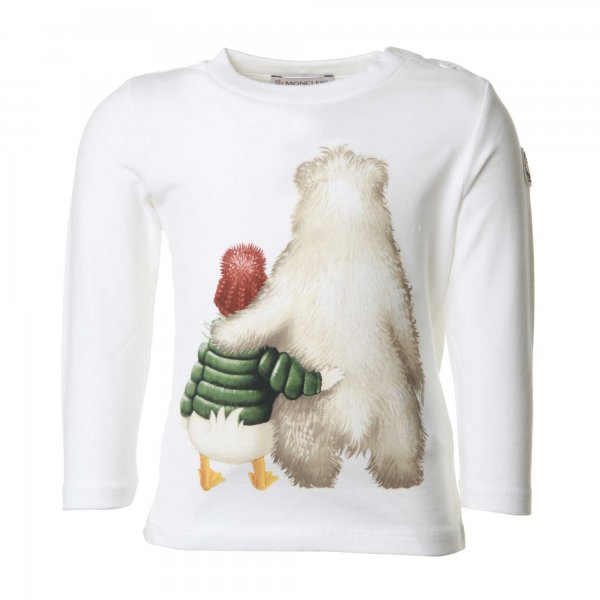 Moncler - T-SHIRT BABY COLOR BIANCO PANNA CON STAMPA