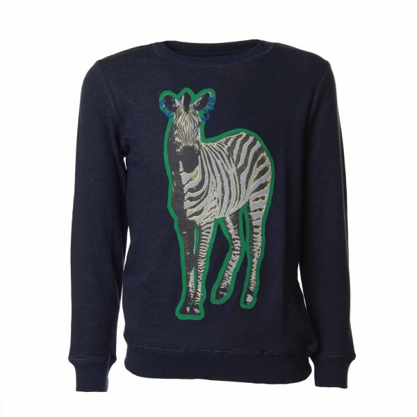 Stella Mccartney - FELPA ZEBRA BAMBINA E TEENAGER BLU