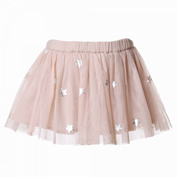 Stella Mccartney - GONNA BIMBA IN TULLE ROSA CON STELLE