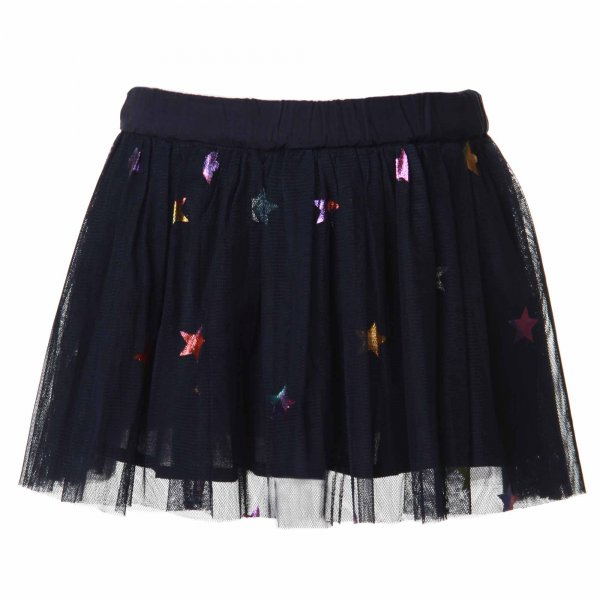 Stella Mccartney - GONNA BIMBA IN TULLE BLU CON STELLE