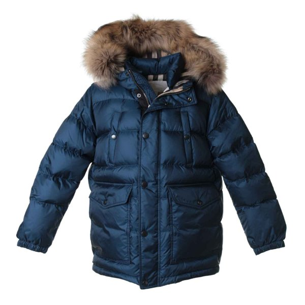 Burberry - PIUMINO BLU-CHECK JUNIOR