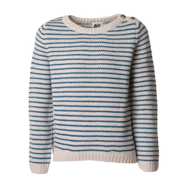 American Outfitters - PULLOVER RIGHE PANNA-BLU
