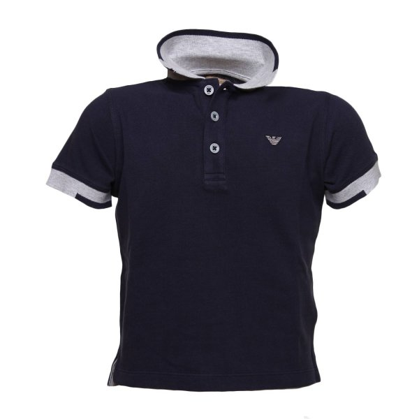 Armani Junior - Polo Blu Logo Bambino